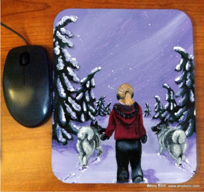 MOUSE PAD · A SNOWY WALK · NORWEGIAN ELKHOUND · AMY BOLIN