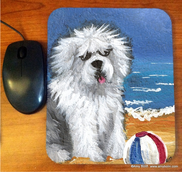 MOUSE PAD · BEACH BUM  · OLD ENGLISH SHEEPDOG  · AMY BOLIN