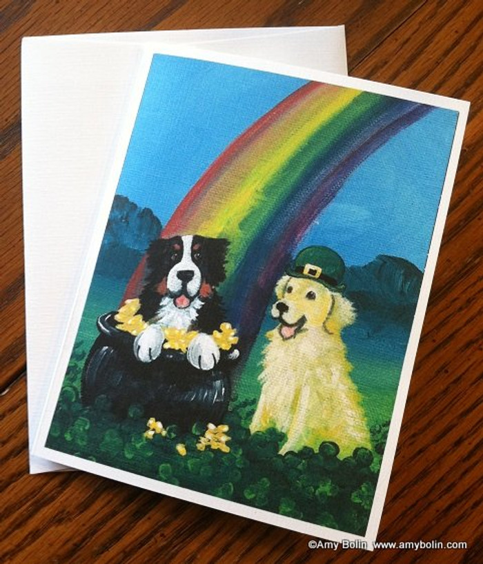 """St. Patrick's Day: My Pot O' Gold"" Bernese Mountain Dog, Golden Retriever Note Cards"