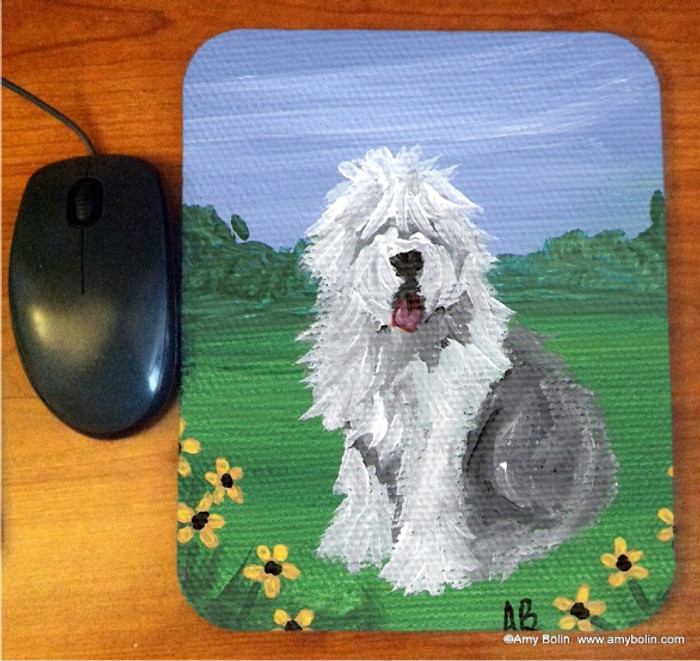 MOUSE PAD · SUMMER  · OLD ENGLISH SHEEPDOG  · AMY BOLIN