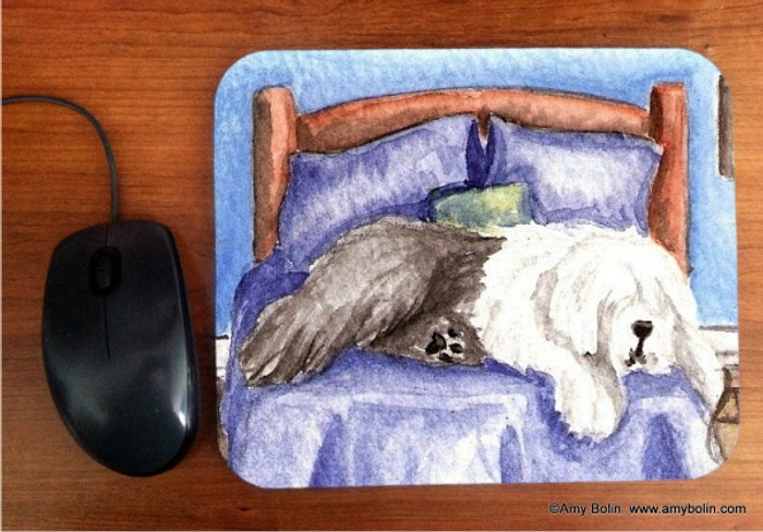 MOUSE PAD · THE KING ON HIS THRONE  · OLD ENGLISH SHEEPDOG  · AMY BOLIN