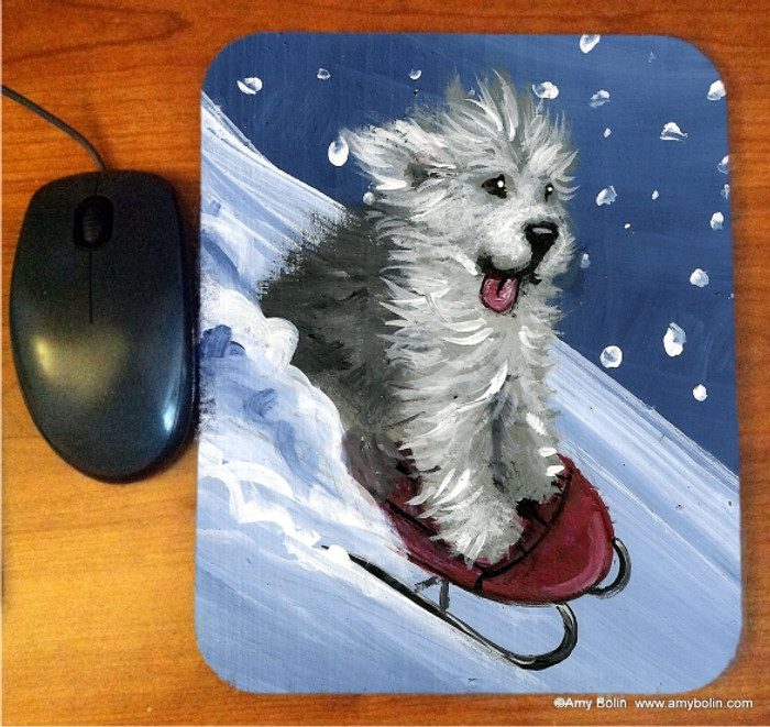 MOUSE PAD · SLED RIDE  · OLD ENGLISH SHEEPDOG  · AMY BOLIN