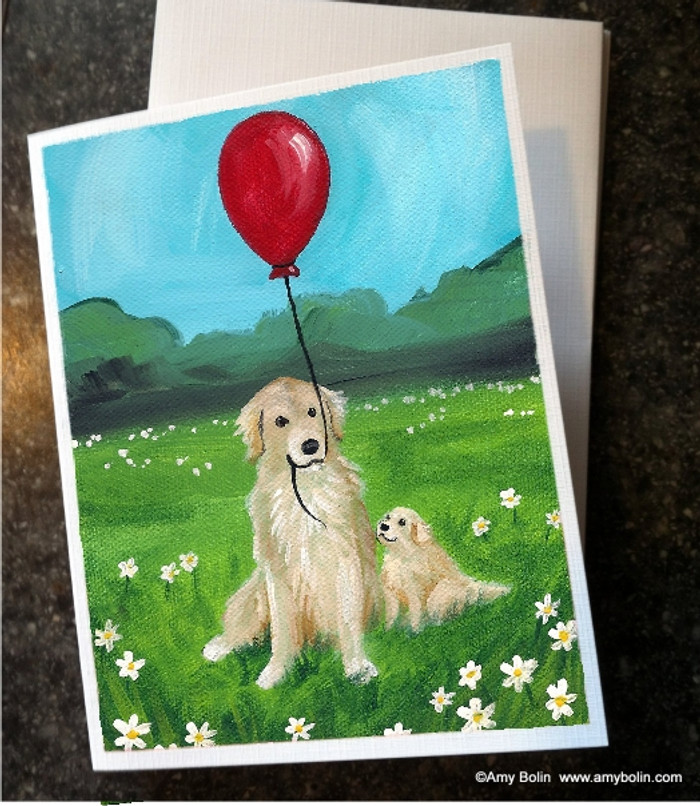 """A Golden Afternoon"" Golden Retriever Note Cards"