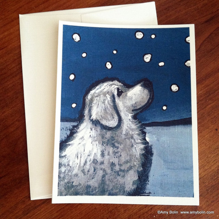 """Counting Snowflakes"" Great Pyrenees Note Cards"