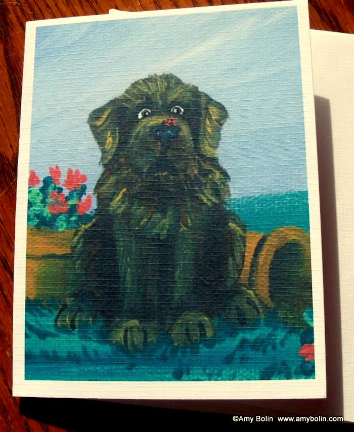 """""""A Little Visitor"""" Brown Newfoundland Note Cards"""