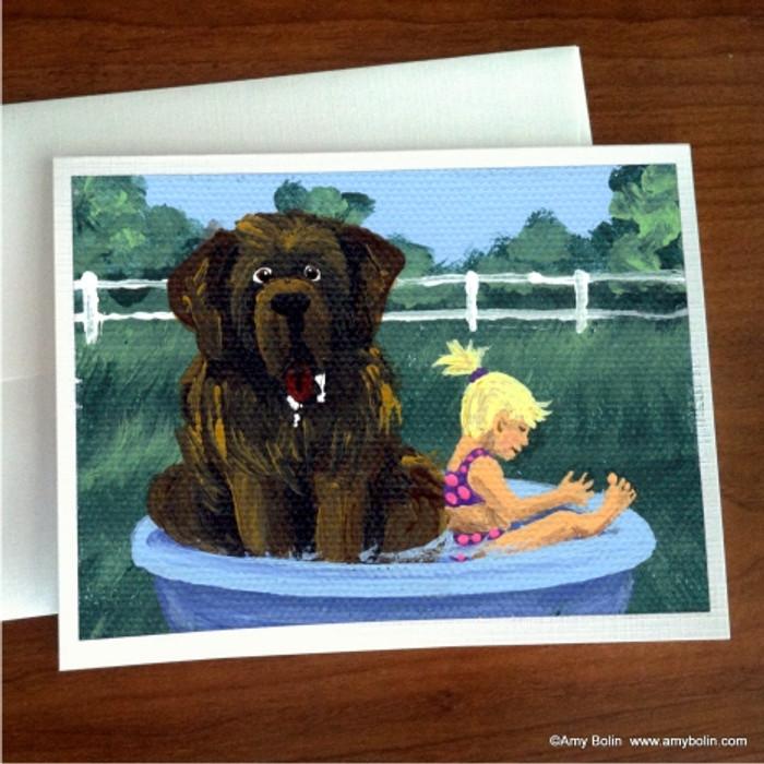 """Bathing Beauties"" Brown Newfoundland Note Cards"