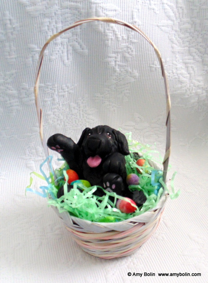 """Easter Newf"" 2"" by 3¾"" Sculpture inside a basket with 7"" handle · Black Newfoundland Dog · Amy Bolin"