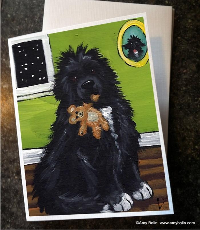 """Bedtime Buddies"" Irish Spotted Newfoundland Note Cards"