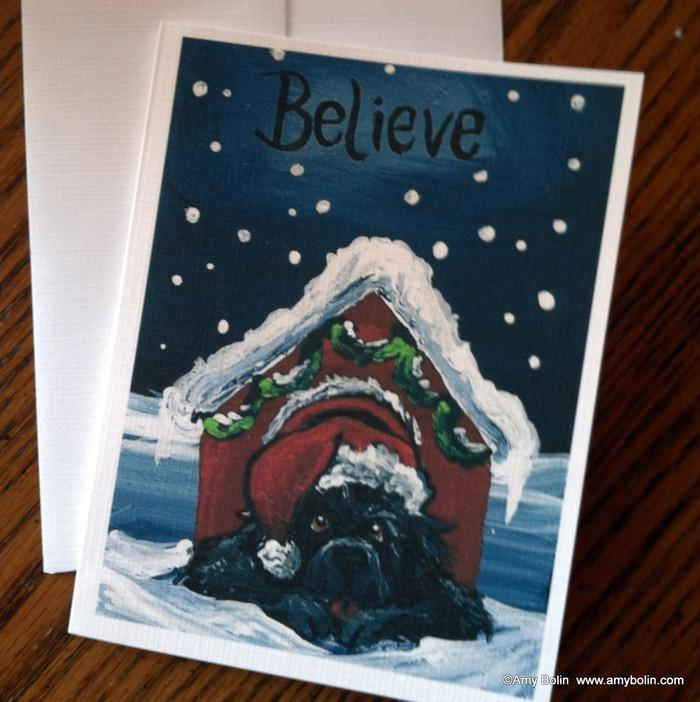 NOTE CARDS · BELIEVE  · BLACK NEWFOUNDLAND · AMY BOLIN