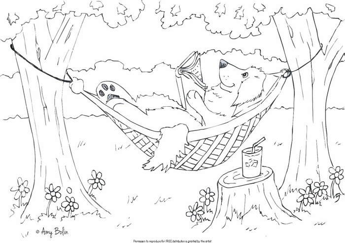 "FREE COLORING SHEET DOWNLOAD · ""Summer Is For Reading"" · GOLDEN RETRIEVER · AMY BOLIN"