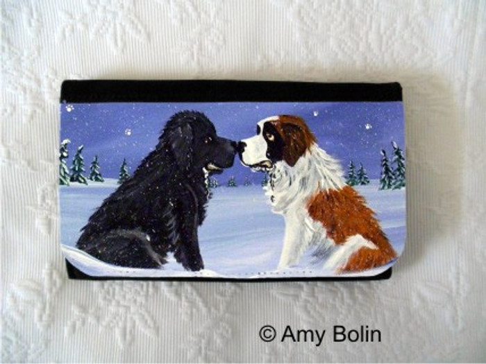 LARGE ORGANIZER WALLET · A COLD, WET HELLO  · BLACK NEWFOUNDLAND,  SAINT BERNARD · AMY BOLIN