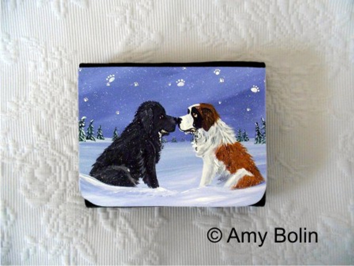 SMALL ORGANIZER WALLET · A COLD, WET HELLO · BLACK NEWFOUNDLAND, SAINT BERNARD · AMY BOLIN