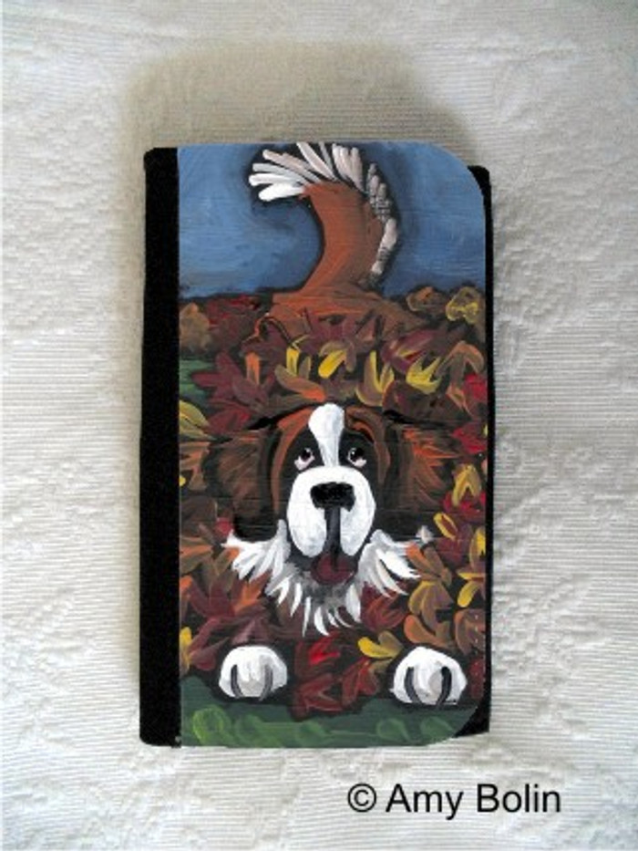 LARGE ORGANIZER WALLET · HAPPINESS IS A PILE OF LEAVES  · SAINT BERNARD · AMY BOLIN