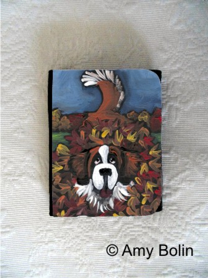 SMALL ORGANIZER WALLET · HAPPINESS IS A PILE OF LEAVES · SAINT BERNARD · AMY BOLIN