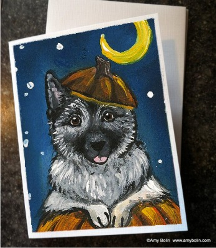 NOTE CARDS · HAPPY HOWLOWEEN · NORWEGIAN ELKHOUND · AMY BOLIN