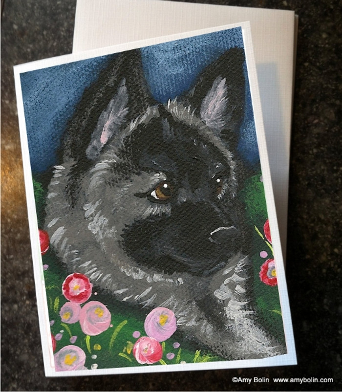 NOTE CARDS · MOM'S FAVORITE FLOWER · NORWEGIAN ELKHOUND · AMY BOLIN