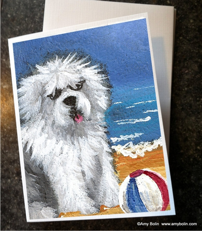 NOTE CARDS · BEACH BUM · OLD ENGLISH SHEEPDOG · AMY BOLIN