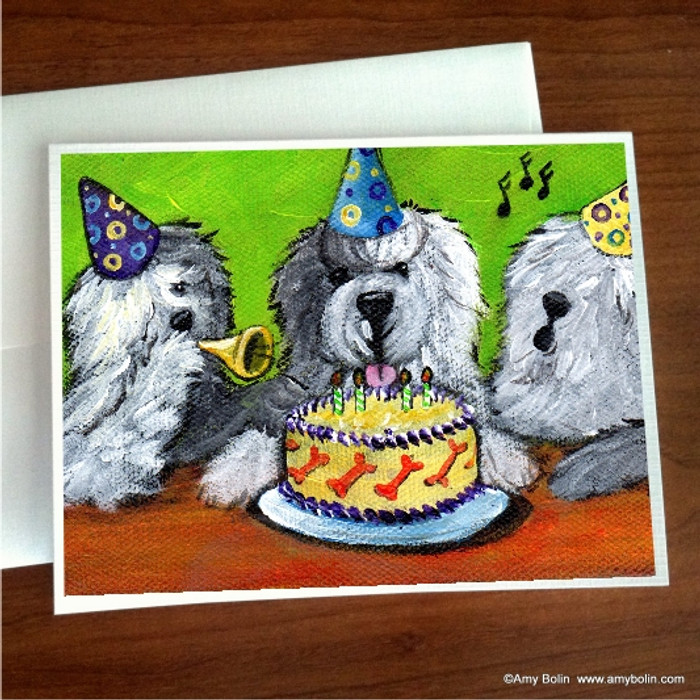 NOTE CARDS · HAPPY BIRTHDAY TO YOU · OLD ENGLISH SHEEPDOG · AMY BOLIN