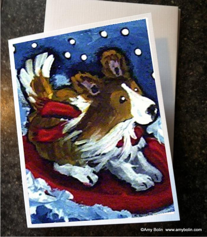 """A Snowy Ride"" Sable Shetland Sheepdog Note Cards"