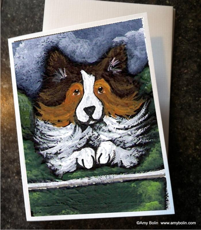 """""""Agility Queen"""" Sable Shetland Sheepdog Note Cards"""