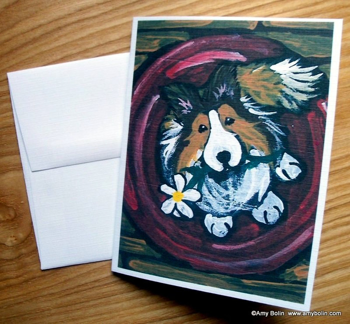 NOTE CARDS · BE MINE · SABLE SHELTIE · AMY BOLIN