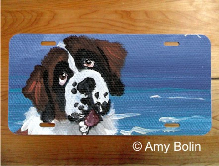 LICENSE PLATE · A DAY AT THE BEACH ·  SAINT BERNARD · AMY BOLIN