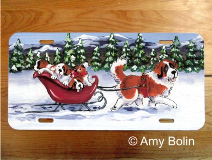 LICENSE PLATE · A WINTRY RIDE ·  SAINT BERNARD · AMY BOLIN