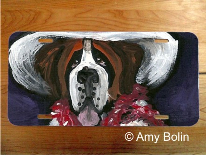 LICENSE PLATE · ALL DRESSED UP WITH NOWHERE TO GO  ·  SAINT BERNARD · AMY BOLIN