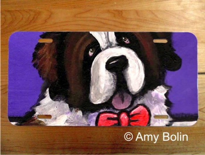 LICENSE PLATE · DAPPER DOG ·  SAINT BERNARD · AMY BOLIN