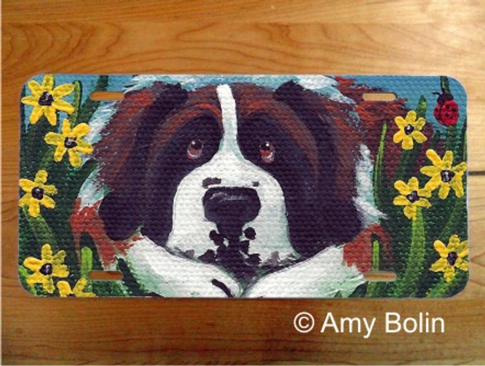 LICENSE PLATE · DOGGIE DAYDREAMS ·  SAINT BERNARD · AMY BOLIN