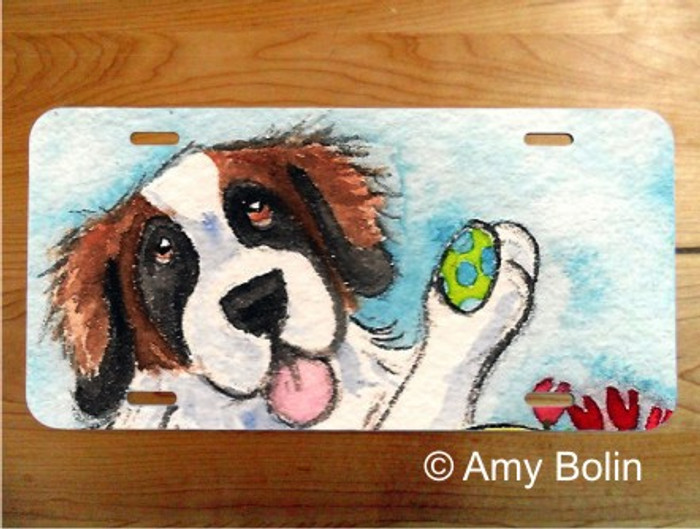 LICENSE PLATE · EASTER EGG ARTIST ·  SAINT BERNARD · AMY BOLIN