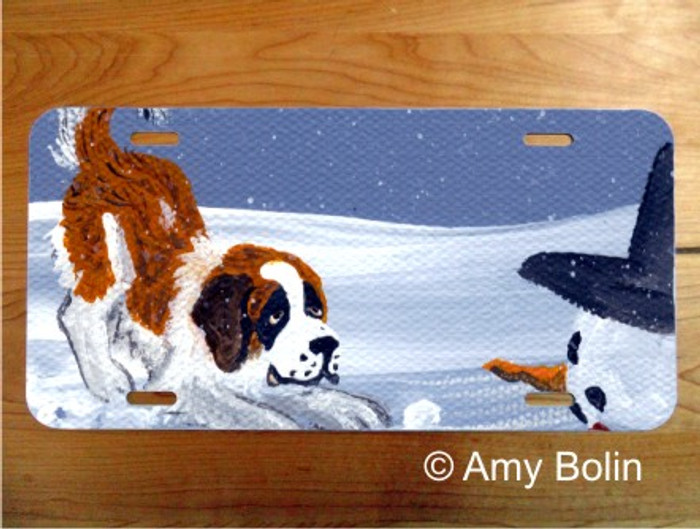 LICENSE PLATE · MY SNOWY FRIEND ·  SAINT BERNARD · AMY BOLIN