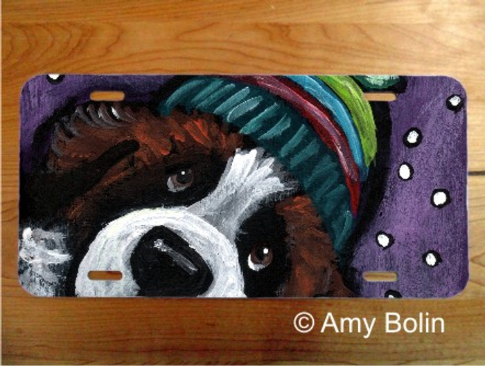 LICENSE PLATE · SNOWY WEATHER ·  SAINT BERNARD · AMY BOLIN