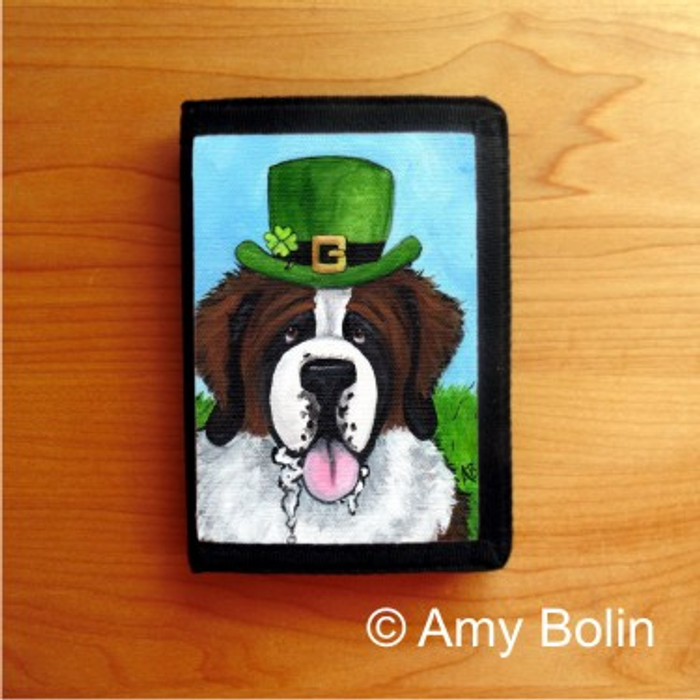 TRIFOLD WALLET · A BIG, WET IRISH KISS · SAINT BERNARD · AMY BOLIN