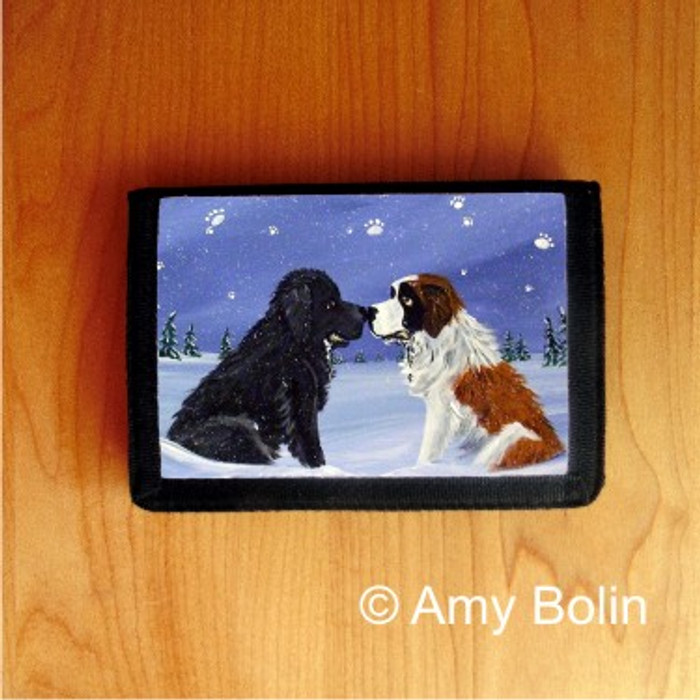 TRIFOLD WALLET · A COLD WET HELLO · BLACK NEWFOUNDLAND, SAINT BERNARD · AMY BOLIN