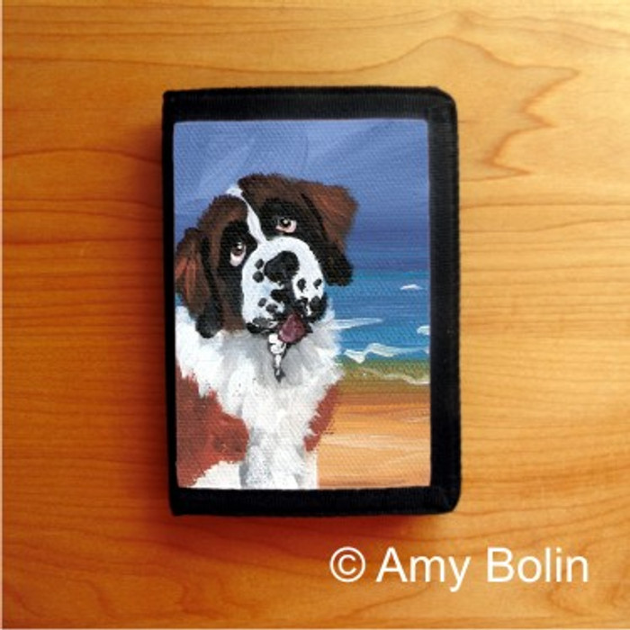 TRIFOLD WALLET · A DAY AT THE BEACH ·  SAINT BERNARD · AMY BOLIN