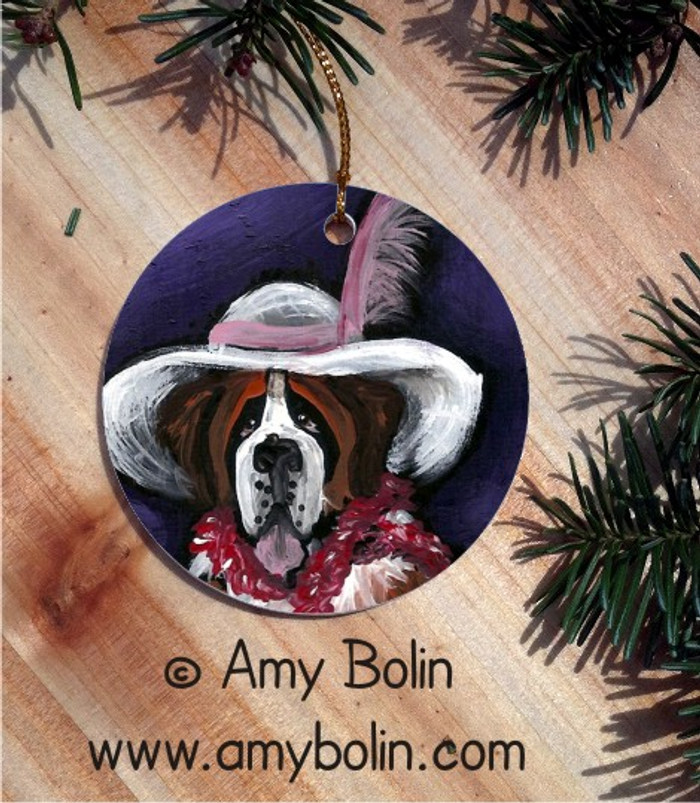 CERAMIC ORNAMENT · ALL DRESSED UP WITH NOWHERE TO GO · SAINT BERNARD · AMY BOLIN