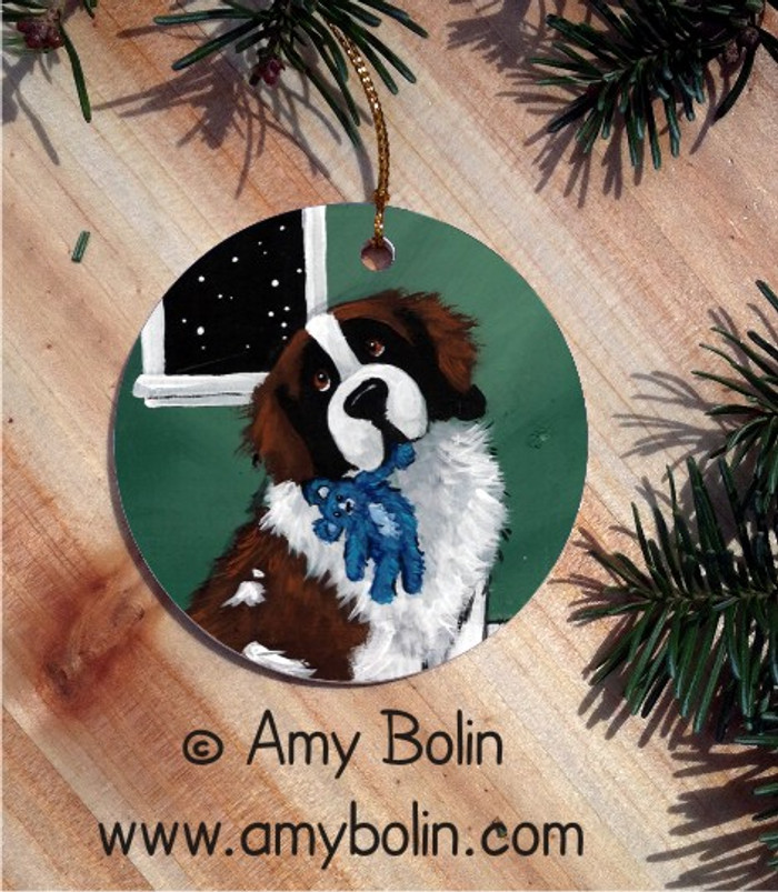 CERAMIC ORNAMENT · BEDTIME BUDDIES · SAINT BERNARD · AMY BOLIN