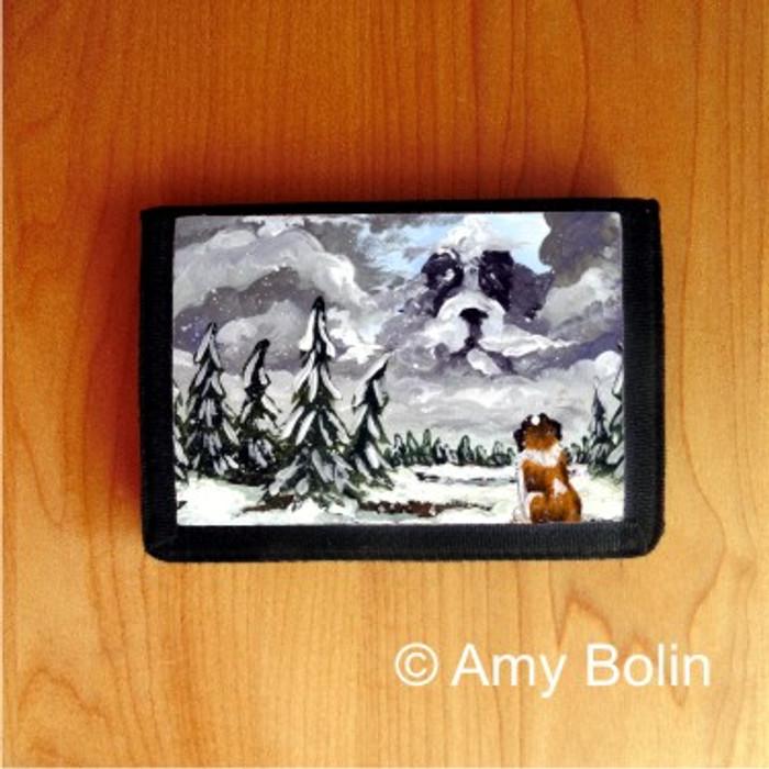 TRIFOLD WALLET · FIRST SNOW ·  SAINT BERNARD · AMY BOLIN
