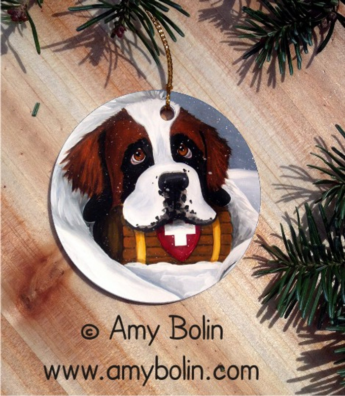 CERAMIC ORNAMENT · BREAK TIME · SAINT BERNARD · AMY BOLIN