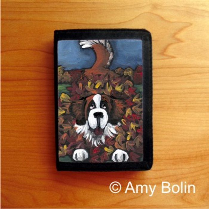 TRIFOLD WALLET · HAPPINESS IS A PILE OF LEAVES  ·  SAINT BERNARD · AMY BOLIN