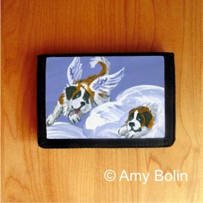 TRIFOLD WALLET · HEAVENLY HIDE & SEEK ·  SAINT BERNARD · AMY BOLIN