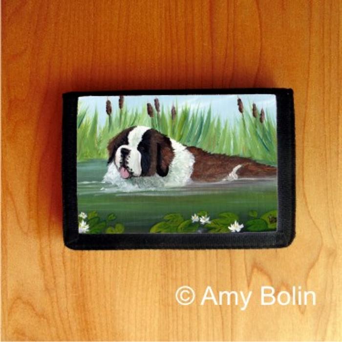 TRIFOLD WALLET · IN MOM'S POND  ·  SAINT BERNARD · AMY BOLIN