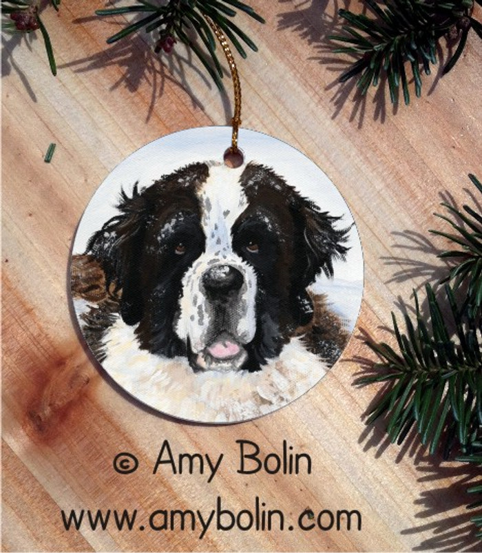 CERAMIC ORNAMENT · CHARLIE'S SNOW DAY · SAINT BERNARD · AMY BOLIN