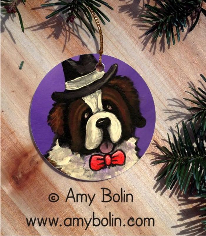 CERAMIC ORNAMENT · DAPPER DOG · SAINT BERNARD · AMY BOLIN