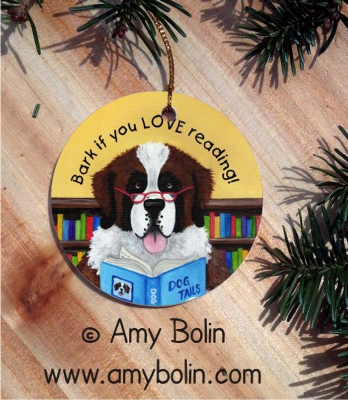 CERAMIC ORNAMENT · DOG TAILS · SAINT BERNARD · AMY BOLIN