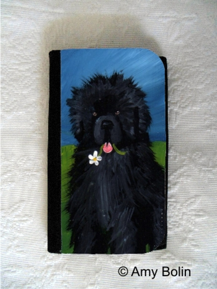 LARGE ORGANIZER WALLET · A FLOWER FOR MOM  · BLACK NEWFOUNDLAND · AMY BOLIN