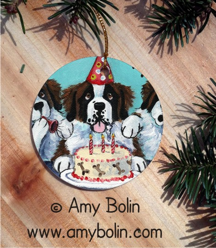 CERAMIC ORNAMENT · HAPPY BIRTHDAY TO YOU · SAINT BERNARD · AMY BOLIN