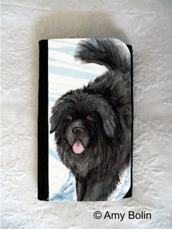 LARGE ORGANIZER WALLET · SNOW SHADOW  · BLACK NEWFOUNDLAND · AMY BOLIN