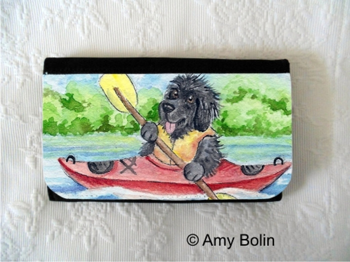 LARGE ORGANIZER WALLET · SUMMER IS FOR KAYAKING ·  BLACK NEWFOUNDLAND · AMY BOLIN